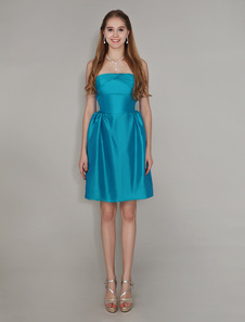 Ocean Blue Strapless Short Bridesmaid Dress With CrissCross Taffeta