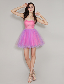 Fahionable Color Block Sweetheart Neck Twisted TulleShort Beading Homecoming Dress With Adjustable Lace Up
