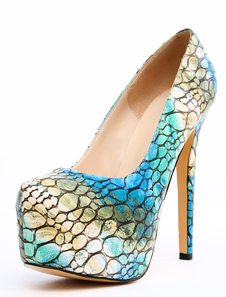 Image of Stampa blu Multi colore mandorla Toe serpente scarpe piattaforma PU
