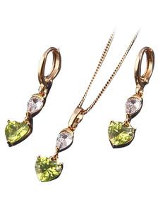 Éblouissant ensemble bijoux en Cubic Zirconia avec pendentif en coeur