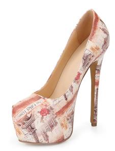 Image of Elegante Multi colore carta da giornale mandorla Toe PU Leather piattaforma scarpe