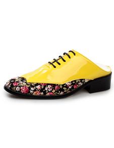 Image of Punta gialla Applique PU brevetto Backless Abito scarpe per uomo
