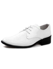 Image of Elegante bianco punte Toe Lace Up brevetto PU Abito scarpe per uomo
