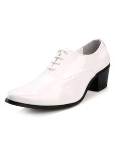 Image of Moda bianco punte Toe Lace Up brevetto PU Abito scarpe da uomo