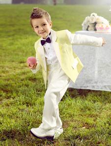 Bébé Garçon Costume Ensemble Enfants Mariage Tuxedo Jaune Veste Pantalon Chemises Noeud Papillon 4 Pcs Anneau Porteur Costumes
