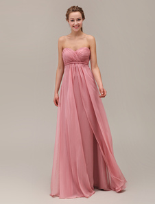 Sweetheart Neck Strapless FloorLength Bridesmaid Dress With Tiered Chiffon