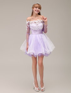 OffTheShoulder Aline Bateau Neck TwoTone Tiered Short Homecoming Dress with Lace Applique Milanoo