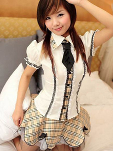 Halloween Nerd Costume Ecru White Plaid Women's Checked Skirt School Girl Uniform