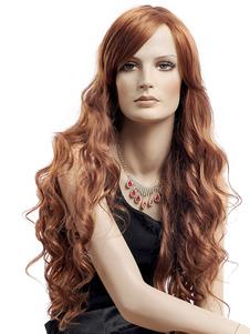 Image of Parrucca sintetica femminile marrone Ricci lunga a spirale con p