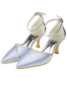 Silver Pointed Toe Kitten Heel Satin Formal Evening Shoes For Women