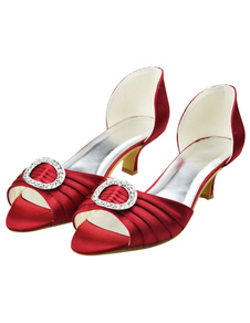 Chic Burgundy Peep Toe Chunky Heel Satin Wedding Shoes For Bride