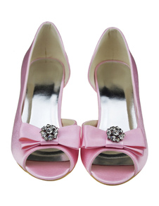Chic Pink Peep Toe Kitten Heel Satin Wedding Shoes With Bow Decor
