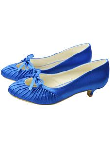 chic-blue-kitten-heel-round-toe-bride-shoes