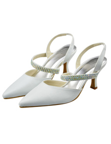White PU Leather Kitten Heel Pointed Toe Wedding Shoes