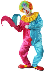 Halloween Clown Costume Red And Blue Split Circus Costume Cosplay
