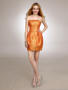 Short Strapless Cocktail Dress With Pleated Taffeta
