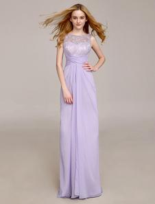 robe demoiselle dhonneur en dentelle lavande plisse milanoo - Milanoo Robe De Soiree Pour Mariage
