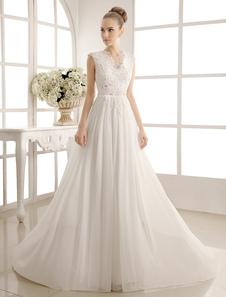 Image of Abiti da sposa in chiffon con scollo a V abito da sposa da spiaggia perline in pizzo avorio abito da sposa