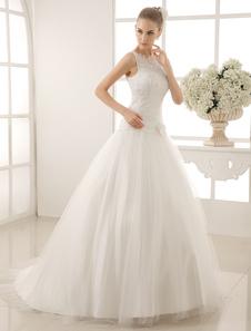 jewel-neck-bridal-wedding-dress-with-beading-flowers