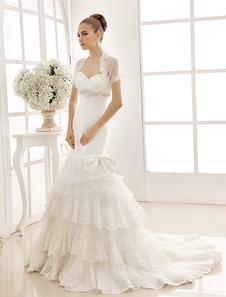 Sweetheart Tiered Mermaid Wedding Dress With Beading Sash & Bow Decor Milanoo