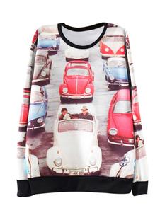 Sweatshirt With Car Print