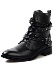 Image of Nero tempestato di stivali di cuoio con taglio medio