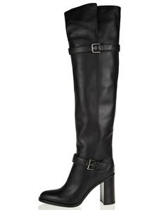 Image of Cuoio nero Toe mandorla sopra gli stivali al ginocchio
