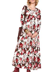 Rose Print Pleated Vintage Maxi Dress
