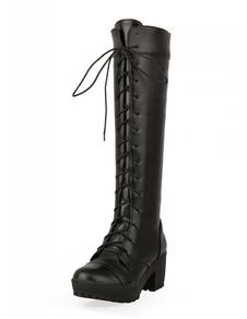Image of Stivali da donna al ginocchio Stivali al polpaccio Stivali al ginocchio con punta arrotondata