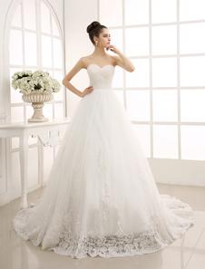 Image of Pizzo bianco abito da sposa con una linea di Tulle