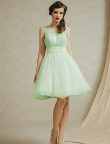 Light Green ALine Lace Tulle Bridesmaid Dress