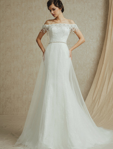Ivory OffTheShoulder Lace Wedding Dress with Sash ( Veil & Accessories are Excluded )