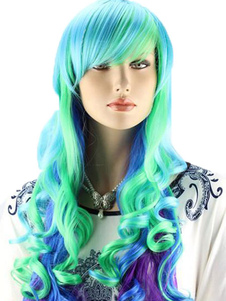 Cosplay Multi Color Spiral Curls Long Halloween wig