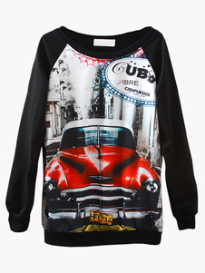 Black Car Print Sweatshirt