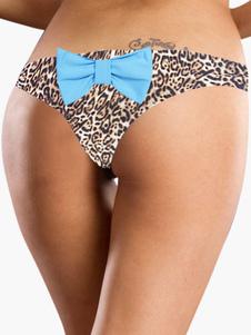 Women Sexy Beachwear Leopard Print Bow Bikini Briefs thumbnail