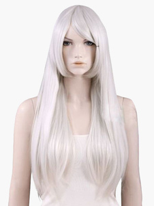 Straight White Full Halloween wig with Sideswept Bangs