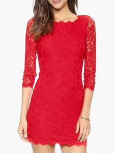 Image of Abito da donna rosso vestito aderente Abito da sera corto a tre