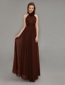 Dark Brown Chiffon Halter Long Bridesmaid Dress