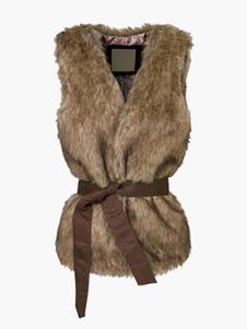 Image of Marrone con cintura Gilet di pelliccia