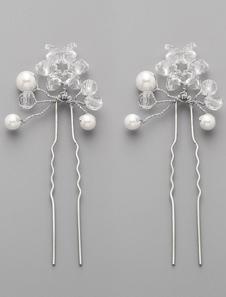 Image of 2 pz a mano cristalli e perle da sposa capelli Pins