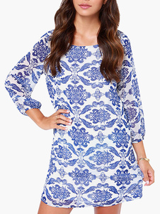 Blue and White china Print Long Sleeve Chiffon Dress