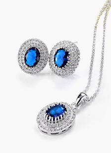 Ensemble bijoux métallique de strass bleue