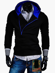 Slim Fit Hoodie with Colorblock Hood in Asymmertric Design
