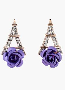 Image of Rose e la Torre Eiffel strass orecchino goccia