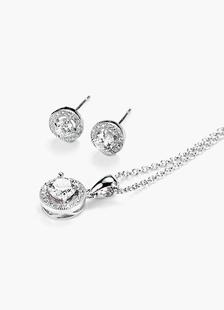Ensemble bijoux métallique argent rond en strass