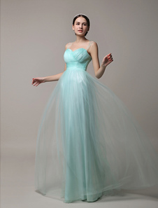 Mint Green Tulle Illusion Floor Length Bridesmaid Dress With Straps