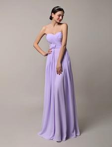 Long Strapless Lavender Pleaated Chiffon Bridesmaid Dress