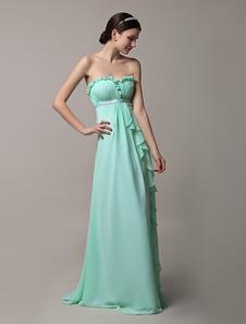 Long Strapless Mint Green Chiffon Ruffles Summer Bridesmaid Dress