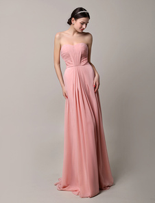 2016 Long Nude Chiffon Pleated Strapless Bridesmaid Dress With Open Back