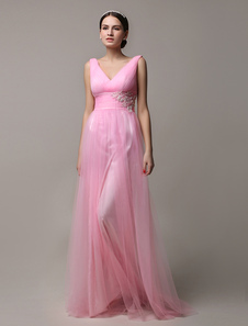 Long Pink Vneck Tulle Pleated Open Back Bridesmaid Dress With Beading Waist